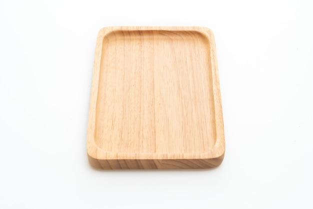 나무 트레이 또는 접시 흰색 배경에 고립