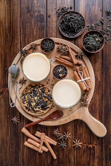 Wooden tray with tea