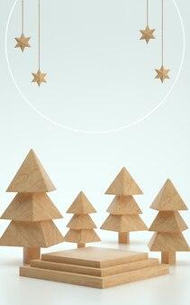 白い背景とクリスマスのための木の木製品ステージまたは表彰台。 3dイラスト