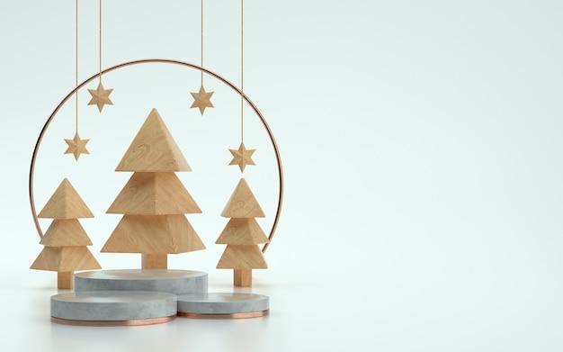 Сцена или подиум из деревянных деревьев на рождество с белым фоном. 3d иллюстрация