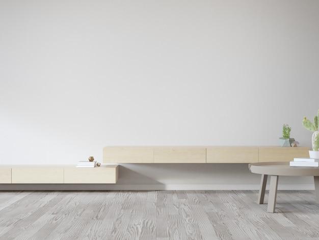 Деревянная подставка под телевизор у белой стены яркой гостиной и журнальный столик против шкафа в современном доме или квартире