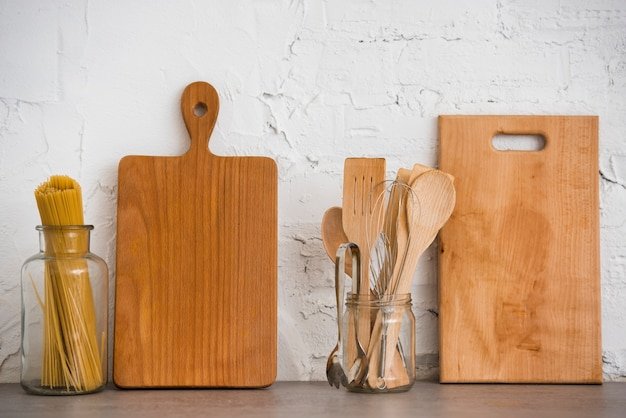 Wooden utensils on the countertop