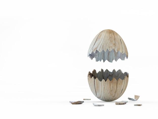 木製の垂直壊れたイースター卵殻