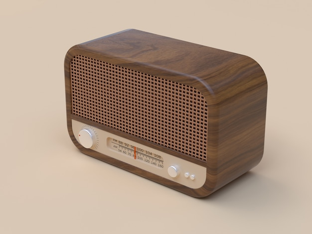 木製ビンテージラジオ3 dレンダリング