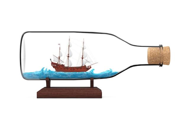 Деревянный старинный высокий парусник, каравелла, пиратский корабль или модель военного корабля в стеклянной бутылке на белом фоне. 3d рендеринг