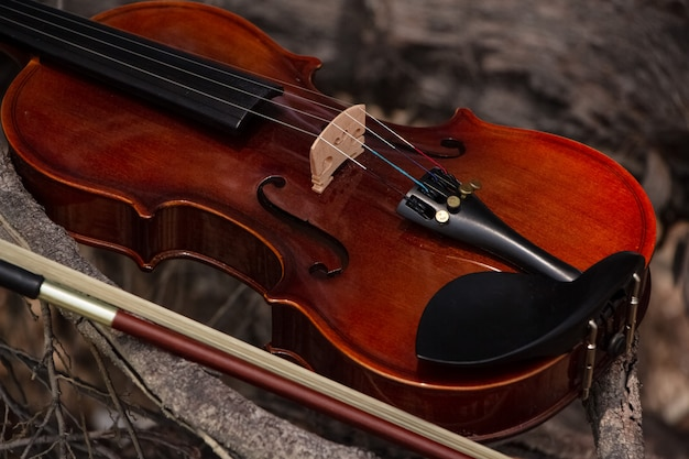 The wooden violin and bow put on wooden timber board, blurry light around
