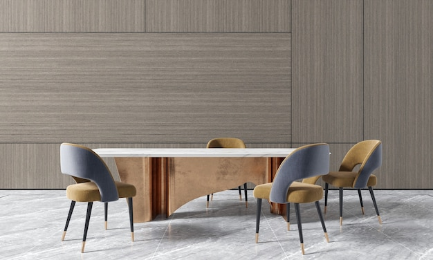 Wooden wall dining room have table and chais and decoration,mock up interior,3d rendering