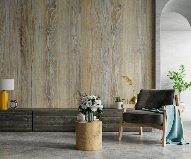 Wooden wall mounted in a cement room with armchair.3d rendering
