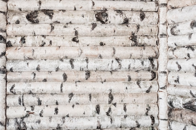 白樺の幹の木製の壁。木の斑点のある背景。高品質の写真
