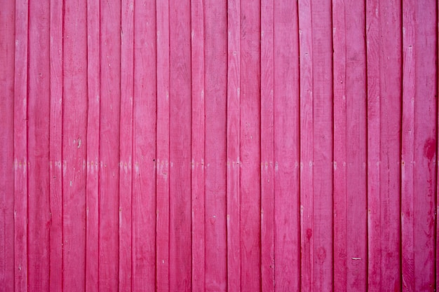 Wooden wall painted in bright pink color