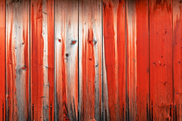 Wooden wall of red boards with the image of the muzzle of the animal.