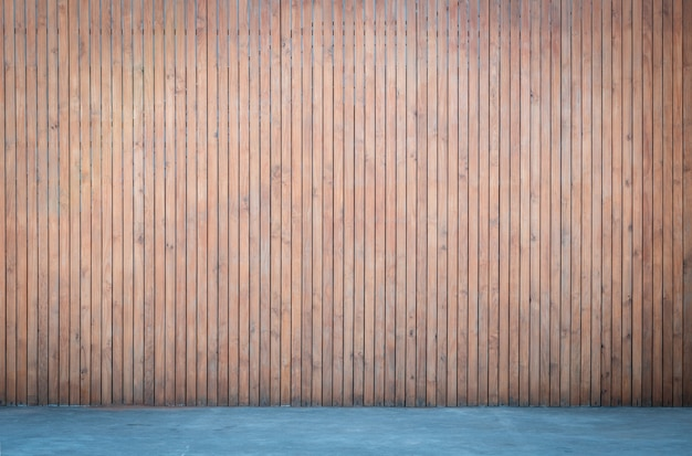 Wooden wall with concrete floor background for interior design, wood panel