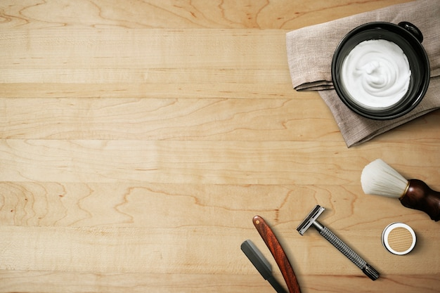 Wooden wallpaper background, beard shaping barber tools job and career concept