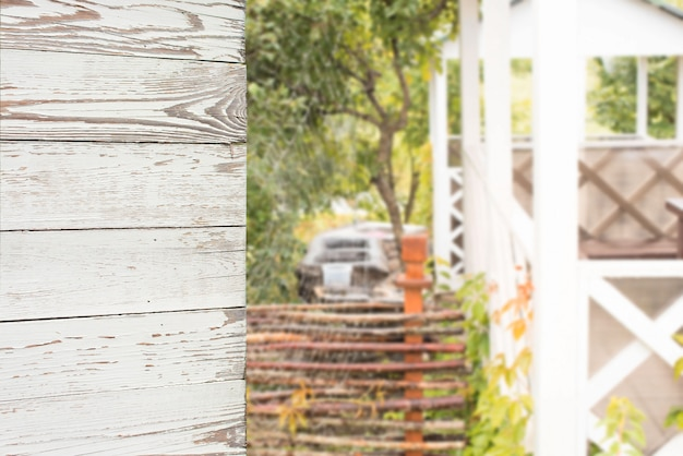 Wooden walls and blur outdoor background