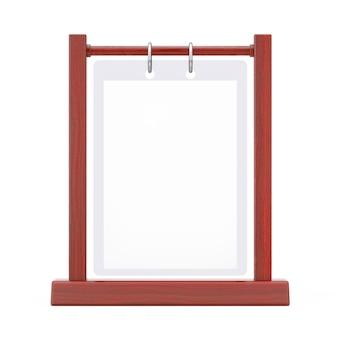 흰색 바탕에 나무 흰색 빈 투명 테이블 접시 플립 메뉴 카드 홀더. 3d 렌더링