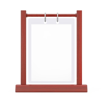 Wooden white blank transparent table plate flip menu card holder on a white background. 3d rendering