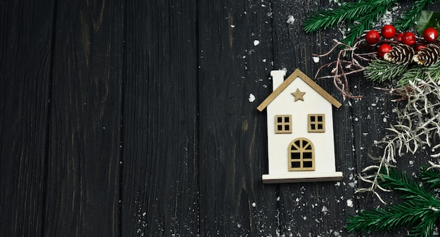 Wooden white house for tree decoration