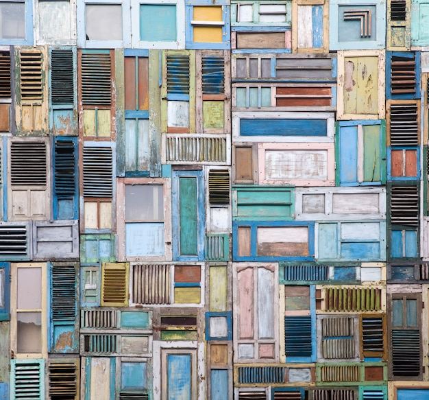 Wooden windows collage