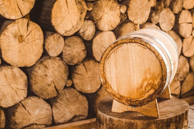 Wooden wine barrel.