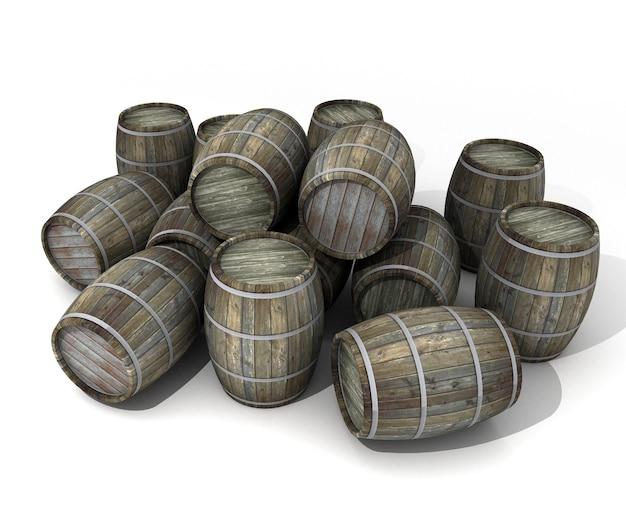 Wooden wine barrels in disorder