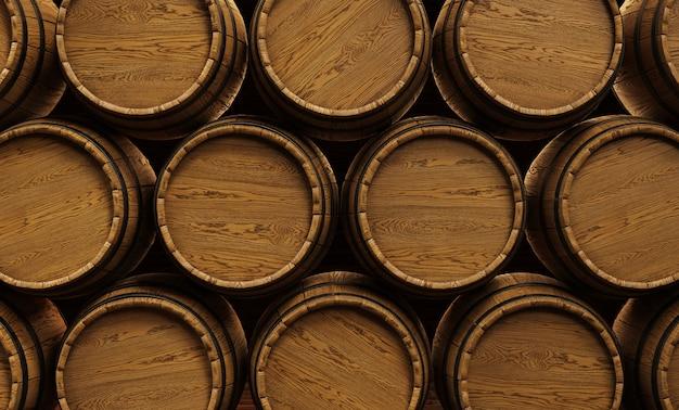 와이너리에 쌓인 나무 와인 배럴