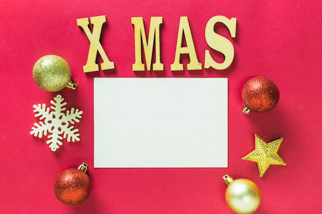 Wooden xmas lettering on table