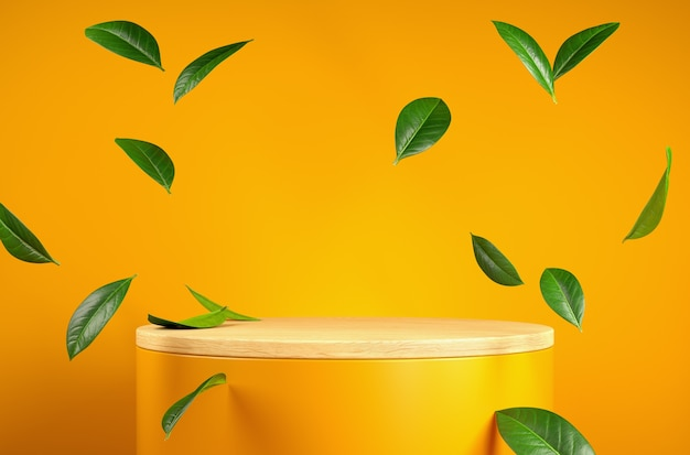 Wooden yellow stage with leaves floating