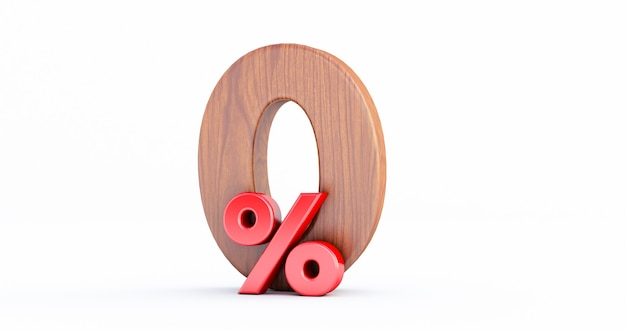 Wooden zero percent or 0 % special offer. wood 0 percent off 3d sign on white background,