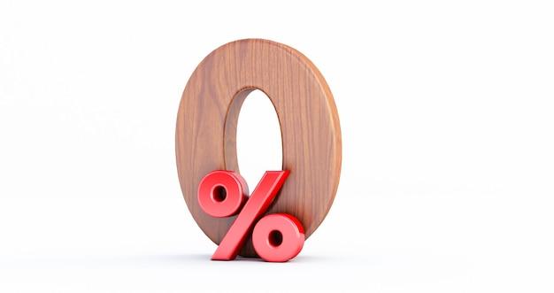 Деревянный нулевой процент или специальное предложение 0%. дерево 0 процентов от 3d-знака на белом фоне