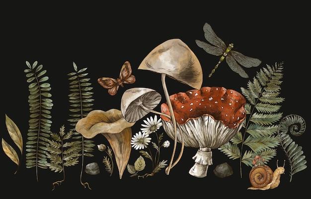 삼림 보물, 아마니타 버섯, 양치류, 삼림 식물 baner. 검은 배경에 고립 된 빈티지 식물 그림입니다. 마법 인사말 카드입니다.