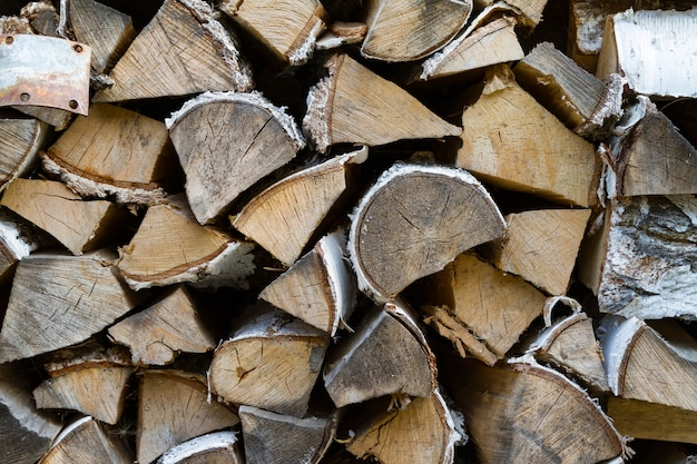 Woodpile in countryside close up