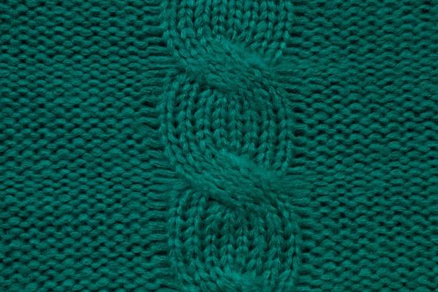 Wool handknitted or machine knitting pattern with braids knit warm green sweater or scarf cozy dark ...