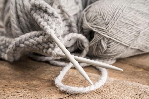 Wool and plastic crocheting needles