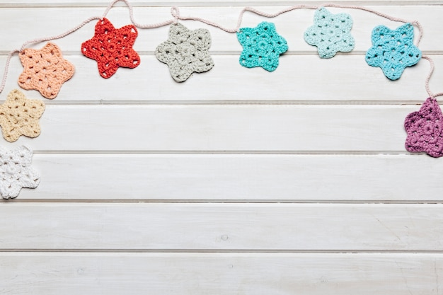 Wool stars decoration with space on bottom