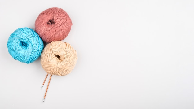 Wool yarn balls with copy space