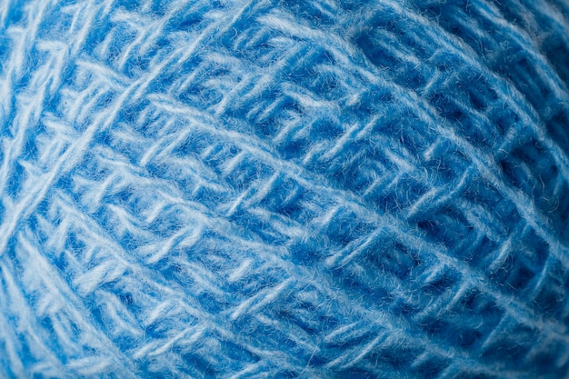 Wool yarn close-up colorful blue threads for needlework