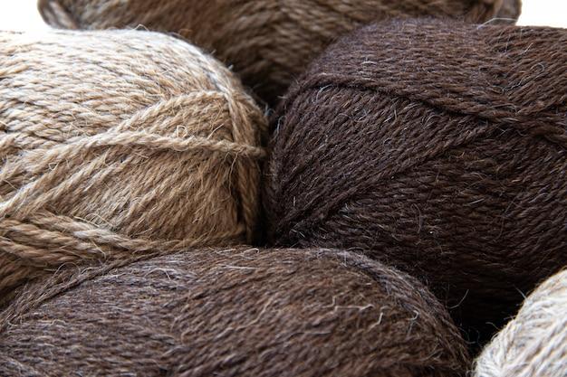 Wool yarns for knitting.