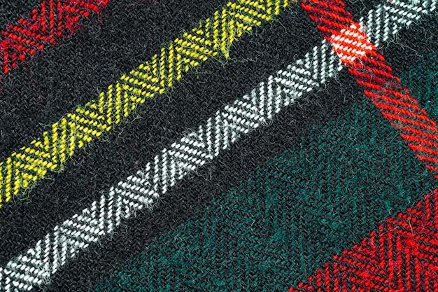ウールのセーター生地の質感、色付きの線で黒い布パターン、テキスタイルデザインの背景のクローズアップ