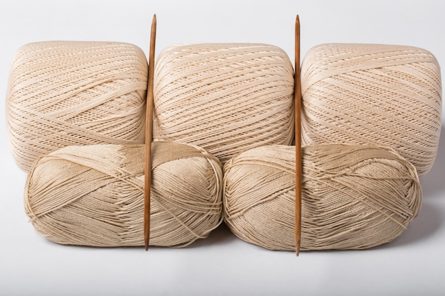 Woolen threads with spokes for knitting isolated