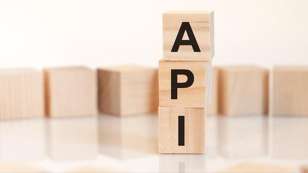 文字、概念を持つ木製のブロックからの単語api