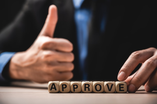 The word approve, business success concept
