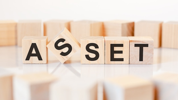 The word assets is written on a wooden cubes structure
