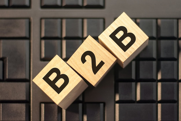 Word b2b made with wood building blocks, business concept. b2b short for business to business