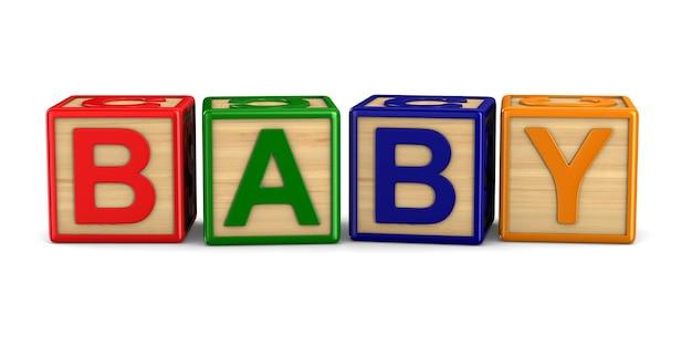 木製の立方体からの単語の赤ちゃん