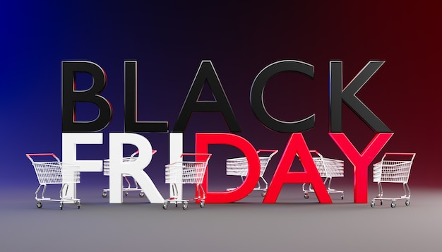The word black friday is large on a dark background and has a shopping cart parked around it. 3d rendering illustration.