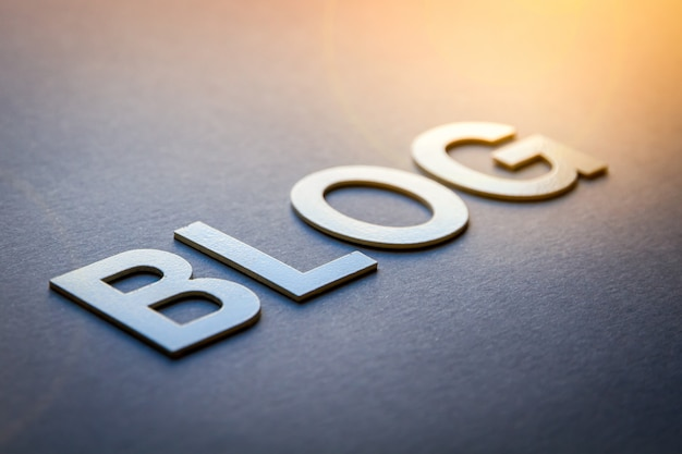 Word blog written with white solid letters