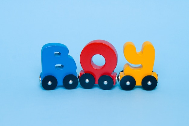 Word boy made of letters train alphabet.