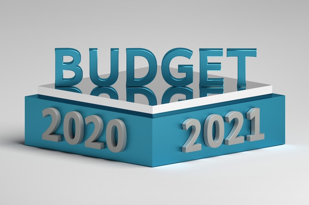 Word budget on a podium with 2020 and 2021 year numbers