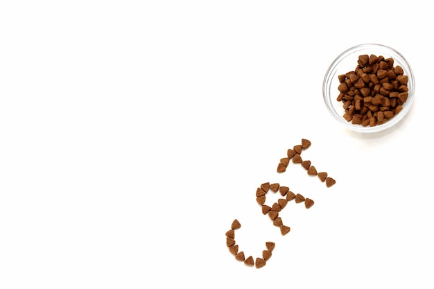 The word cat is laid out with dry cat food on a white surface next to a bowl of cat dry food.