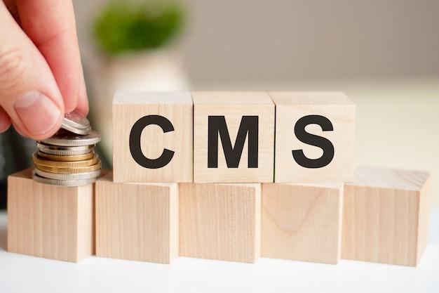 나무 큐브에 쓰여진 단어 cms. 비즈니스 및 금융 개념.